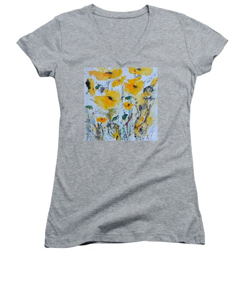 Women's V-Neck T-Shirt (Junior Cut) featuring the painting Poppies 03 by Ismeta Gruenwald