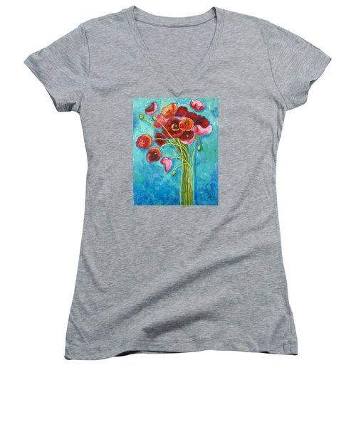 Poppies Women's V-Neck
