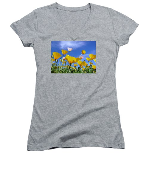 Poppies And Blue Arizona Sky Women's V-Neck T-Shirt (Junior Cut) by Lucinda Walter
