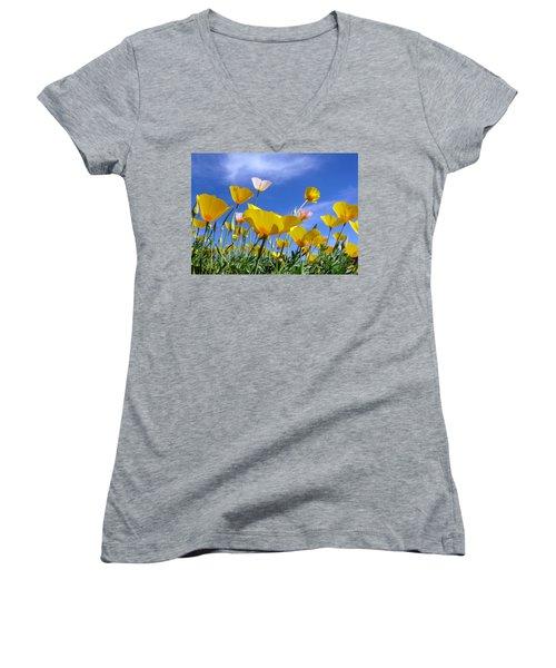 Poppies And Blue Arizona Sky Women's V-Neck
