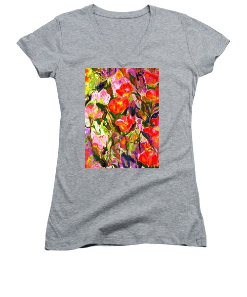 Women's V-Neck T-Shirt (Junior Cut) featuring the mixed media Poppies by Beth Saffer