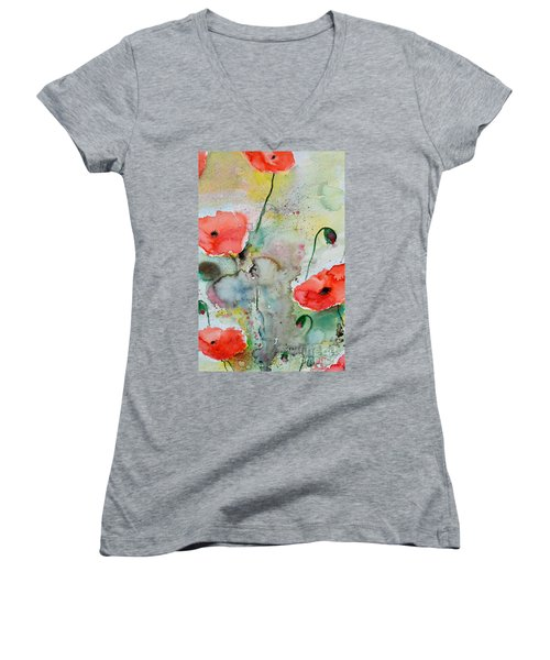 Women's V-Neck T-Shirt (Junior Cut) featuring the painting Poppies - Flower Painting by Ismeta Gruenwald