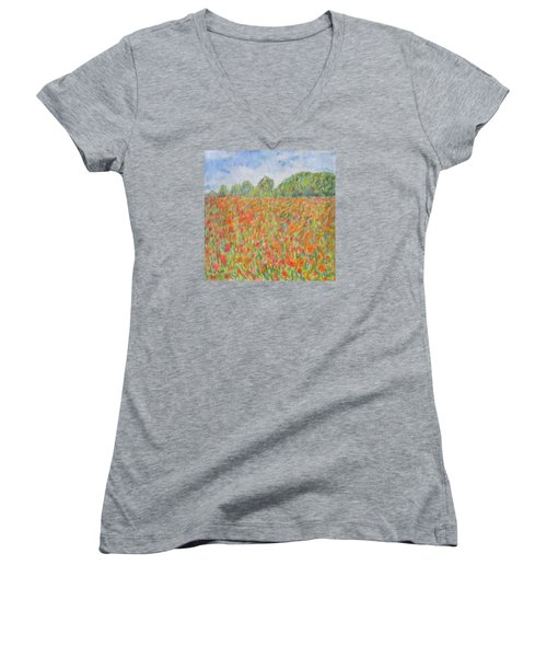 Poppies In A Field In Afghanistan Women's V-Neck (Athletic Fit)