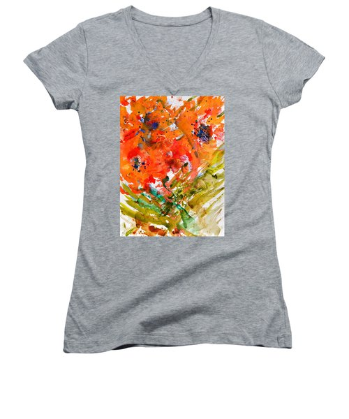 Poppies In A Hurricane Women's V-Neck (Athletic Fit)