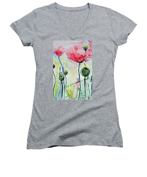 Women's V-Neck T-Shirt (Junior Cut) featuring the painting Poppies by Ismeta Gruenwald