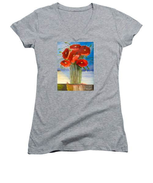 Women's V-Neck T-Shirt (Junior Cut) featuring the painting Poppies On The Window Ledge by Pamela  Meredith