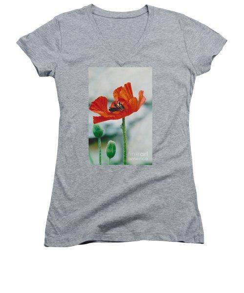 Poppy - 1 Women's V-Neck T-Shirt (Junior Cut) by Jackie Mueller-Jones