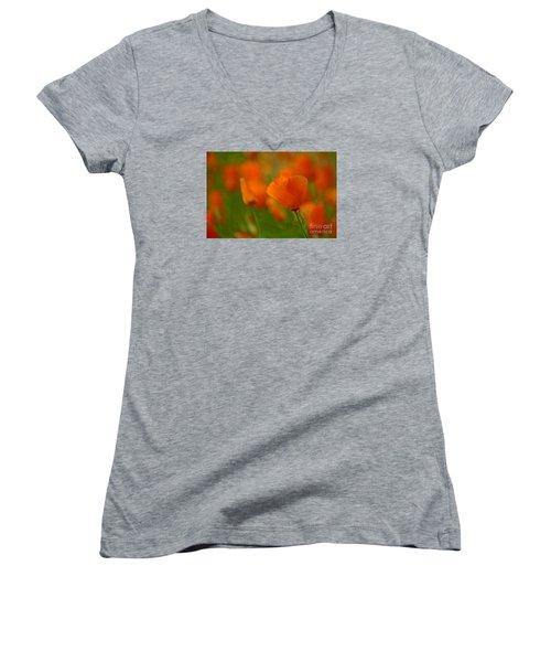 Women's V-Neck T-Shirt (Junior Cut) featuring the photograph Poppy Art by Nick  Boren
