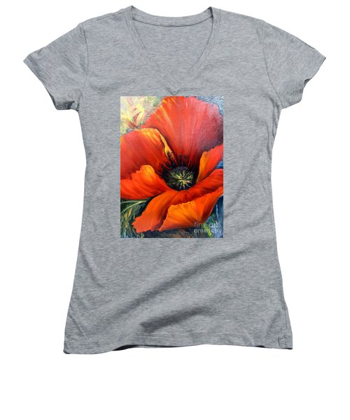 Poppy Red Women's V-Neck T-Shirt (Junior Cut)