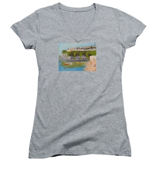 Women's V-Neck T-Shirt (Junior Cut) featuring the painting Port Asaac Cornwell by Pamela  Meredith