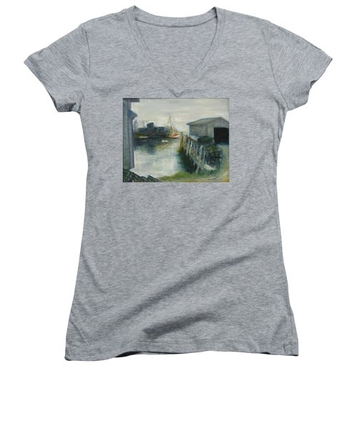 Port Clyde In Fog Women's V-Neck T-Shirt