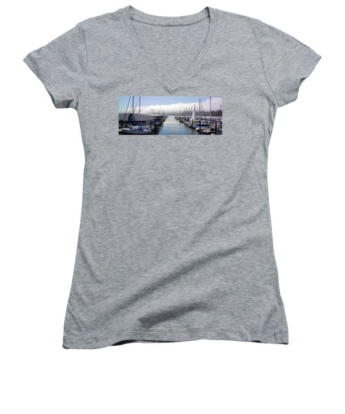 Women's V-Neck T-Shirt (Junior Cut) featuring the photograph Port Kingston Marina by Greg Reed