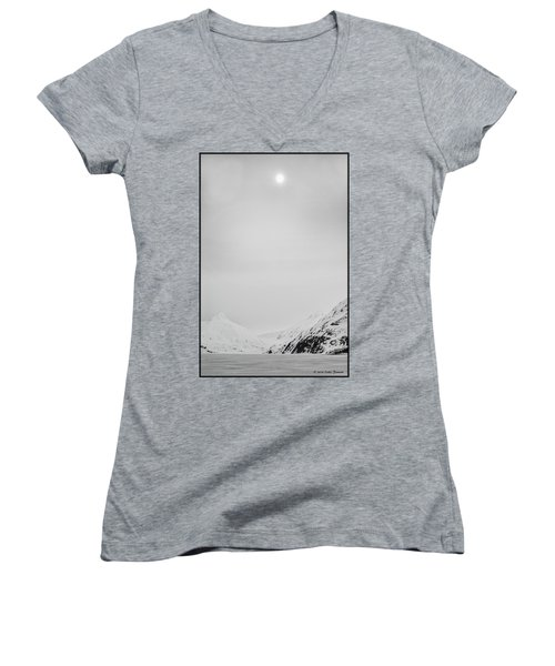 Portage Lake In Fog Women's V-Neck T-Shirt (Junior Cut)