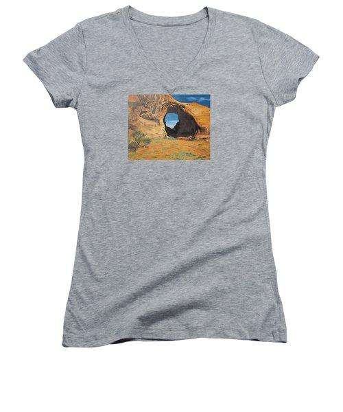 Portal At Window Rock  Women's V-Neck T-Shirt