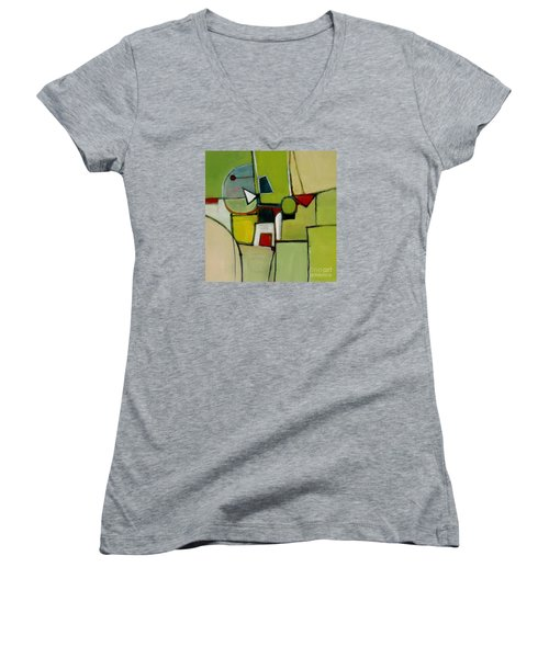 Women's V-Neck T-Shirt (Junior Cut) featuring the painting Portal No.1 by Michelle Abrams
