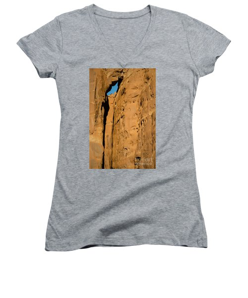 Portal Through Stone Women's V-Neck T-Shirt (Junior Cut) by Jeff Kolker