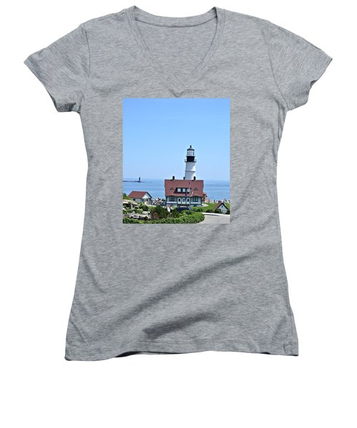 Portland Head Light Women's V-Neck (Athletic Fit)