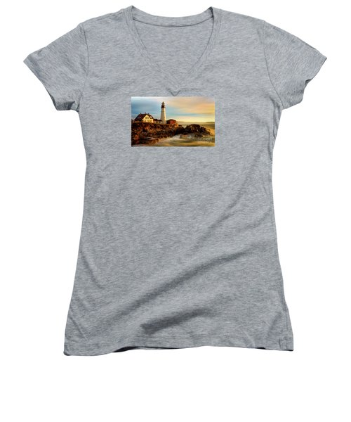 Portland Head Lighthouse At Dawn Women's V-Neck T-Shirt (Junior Cut) by Jerry Fornarotto