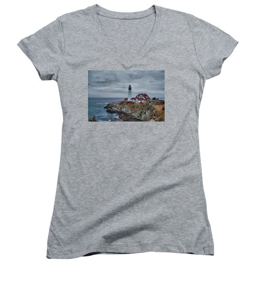 Women's V-Neck T-Shirt (Junior Cut) featuring the photograph Portland Headlight 14440 by Guy Whiteley