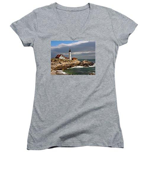 Women's V-Neck T-Shirt (Junior Cut) featuring the photograph Portland Headlight by John Haldane