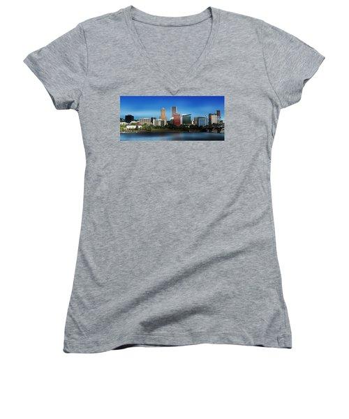 Oregon Women's V-Neck T-Shirt (Junior Cut) featuring the photograph Portland Oregon Skyline  by Aaron Berg