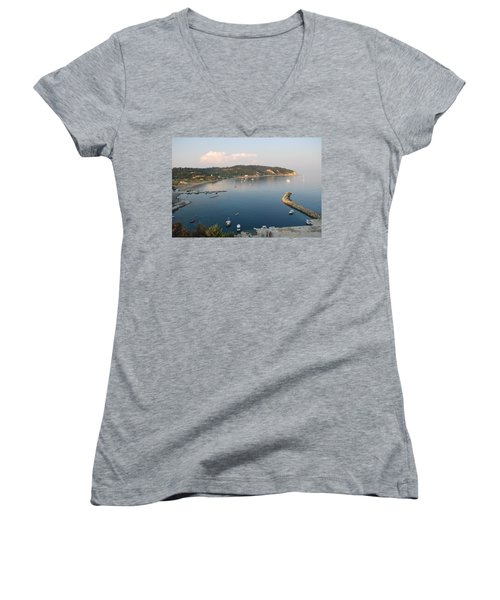 Women's V-Neck T-Shirt (Junior Cut) featuring the photograph Porto Bay by George Katechis