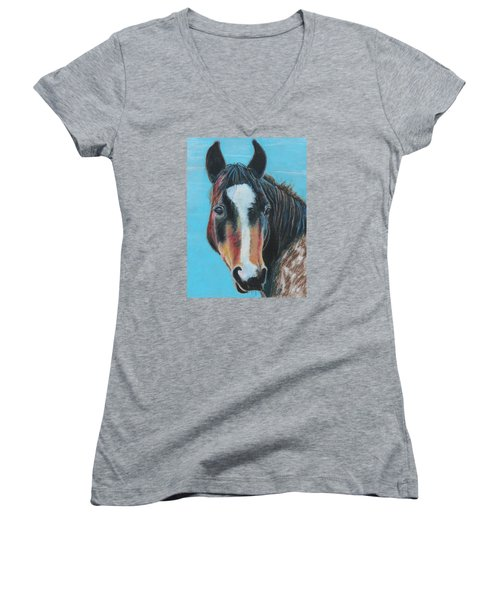 Women's V-Neck T-Shirt (Junior Cut) featuring the painting Portrait Of A Wild Horse by Jeanne Fischer