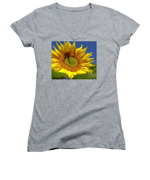 Portrait Of A Sunflower Women's V-Neck T-Shirt (Junior Cut)