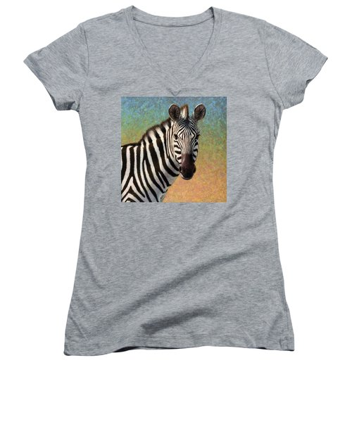 Women's V-Neck T-Shirt (Junior Cut) featuring the painting Portrait Of A Zebra - Square by James W Johnson