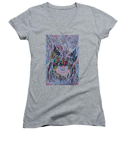 Women's V-Neck T-Shirt (Junior Cut) featuring the mixed media Portrait Of Art Brutus by Douglas Fromm