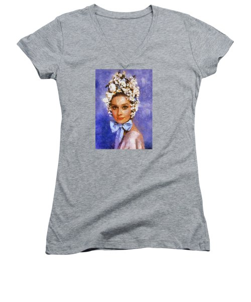 Women's V-Neck T-Shirt (Junior Cut) featuring the digital art Portrait Of Audrey Hepburn by Charmaine Zoe