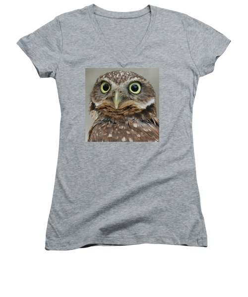Portrait Of Burrowing Owl Women's V-Neck (Athletic Fit)