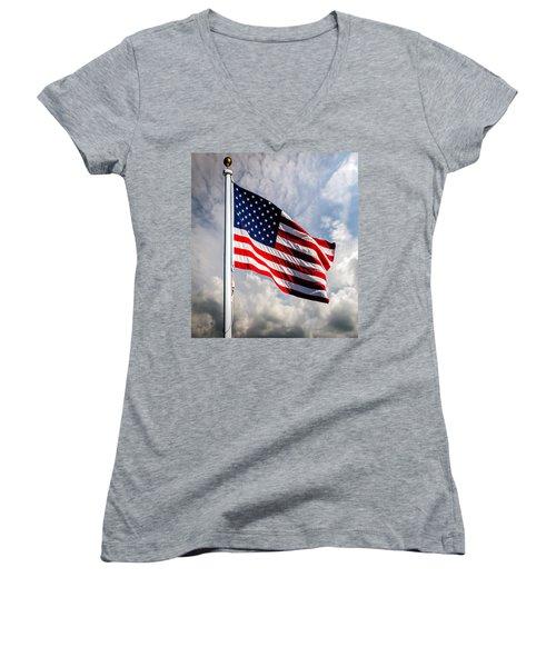 Portrait Of The United States Of America Flag Women's V-Neck