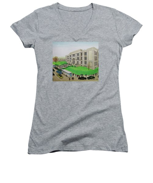 Portsmouth Trojans Travel To An Away Game Women's V-Neck T-Shirt (Junior Cut) by Frank Hunter