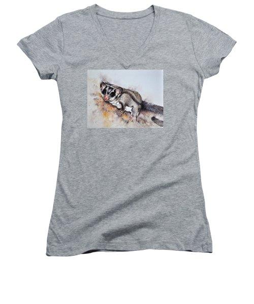 Possum Cute Sugar Glider Women's V-Neck T-Shirt (Junior Cut) by Sandra Phryce-Jones
