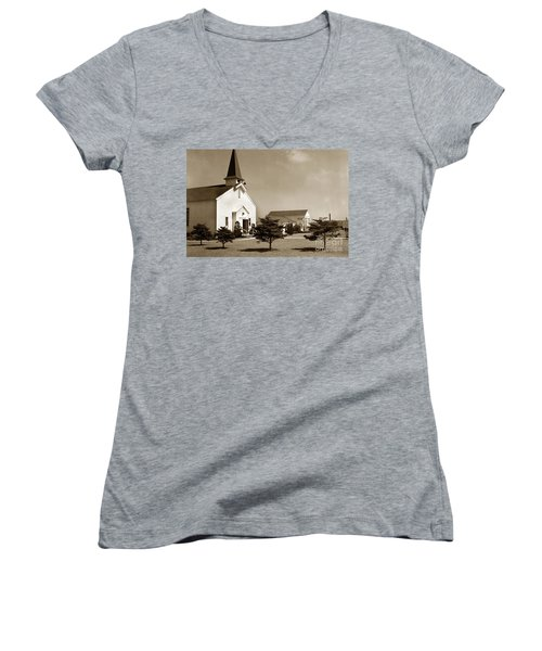 Post Chapel And Red Cross Building Fort Ord Army Base California 1950 Women's V-Neck