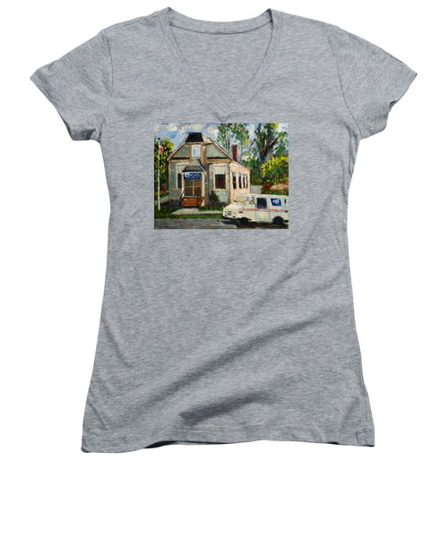 Post Office At Lafeyette Nj Women's V-Neck (Athletic Fit)