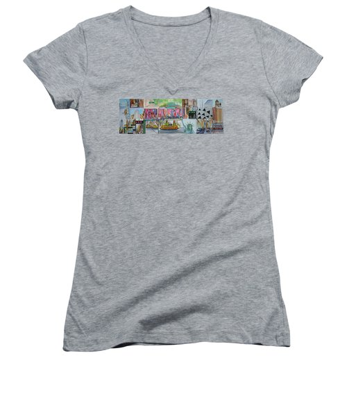 Postcards From New York City Women's V-Neck