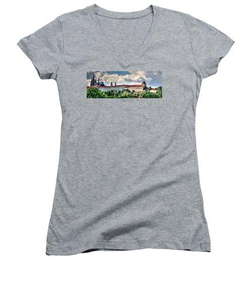 Women's V-Neck T-Shirt (Junior Cut) featuring the photograph Prague Castle by Joe  Ng