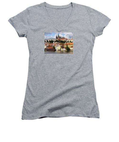 Women's V-Neck T-Shirt (Junior Cut) featuring the photograph Prague Skyline by Ira Shander