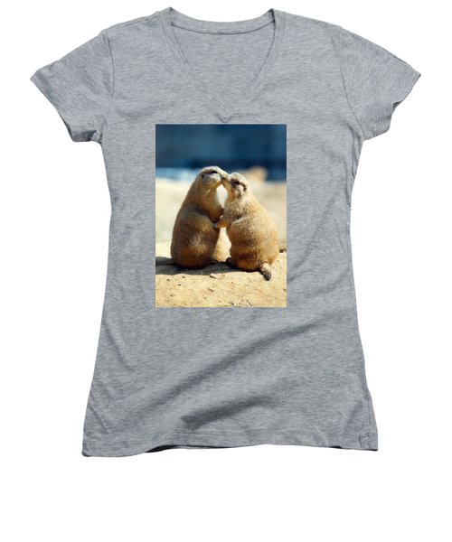 Prairie Dogs Kissing Women's V-Neck