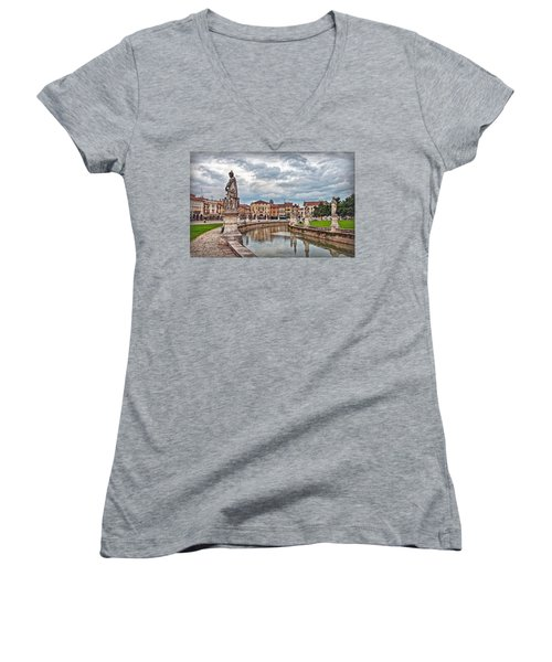 Prato Della Valle Women's V-Neck T-Shirt (Junior Cut) by Hanny Heim