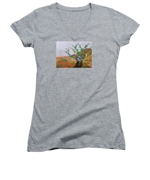 Women's V-Neck T-Shirt (Junior Cut) featuring the painting Prayer Flags by Deborha Kerr
