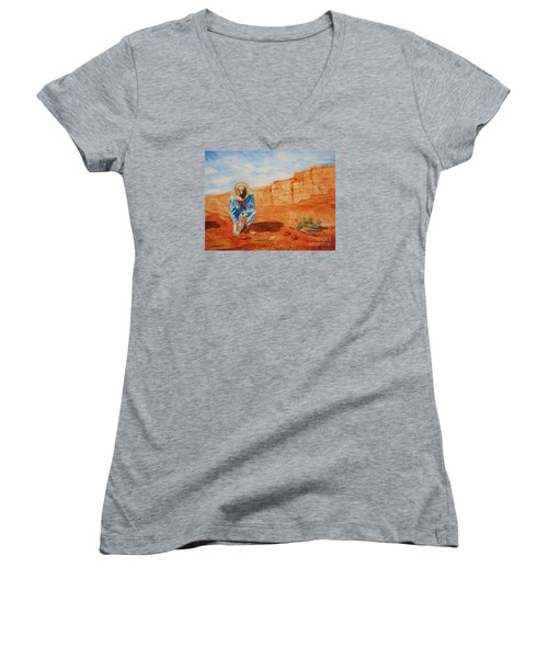 Women's V-Neck T-Shirt (Junior Cut) featuring the painting Prayer For Earth Mother by Ellen Levinson