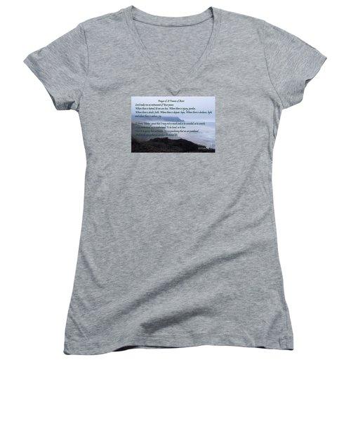 Prayer Of St Francis Of Assisi Women's V-Neck T-Shirt (Junior Cut) by Sharon Elliott