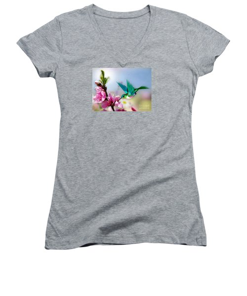 Pretty Hummingbird Women's V-Neck (Athletic Fit)