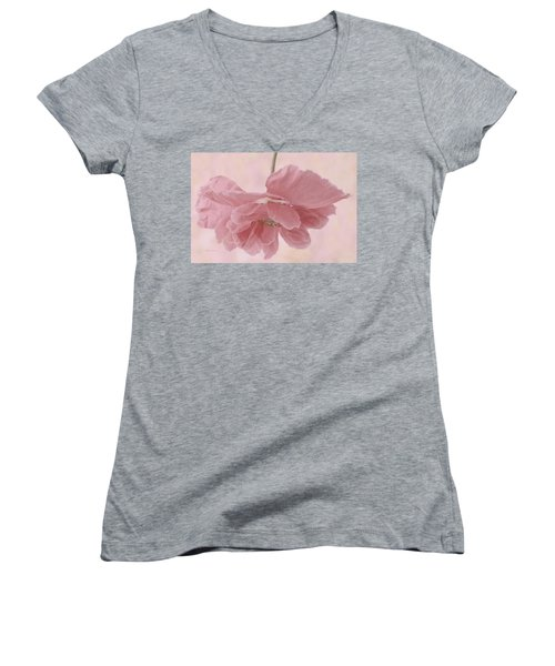 Women's V-Neck T-Shirt (Junior Cut) featuring the photograph Pretty Pink Poppy Macro by Sandra Foster