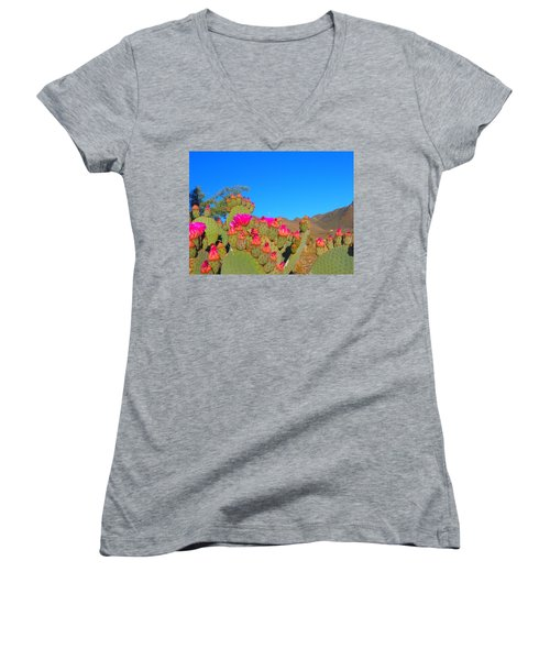 Prickly Pear Blooming Women's V-Neck T-Shirt