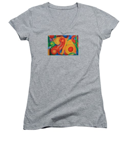 Primary Cats Women's V-Neck T-Shirt (Junior Cut) by Pamela Clements