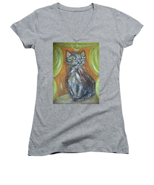 Women's V-Neck T-Shirt (Junior Cut) featuring the painting Princess Kitty by Teresa White